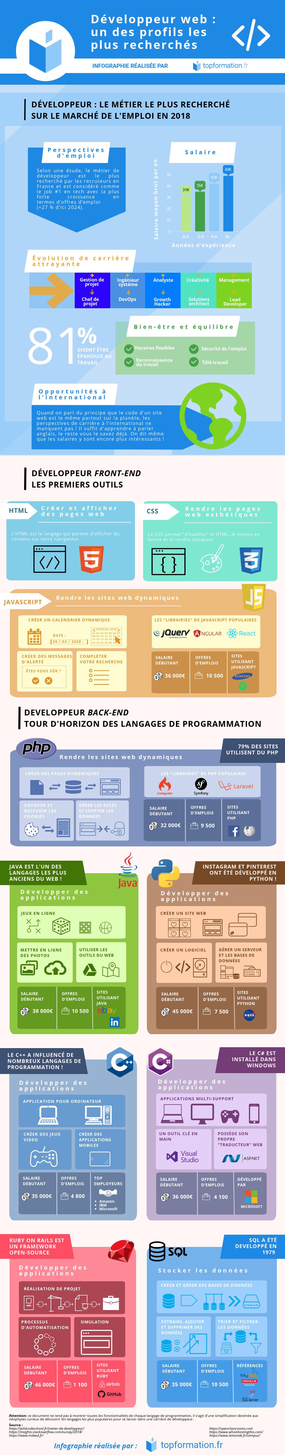Infographie sur les métiers de développeur informatique par Topformation